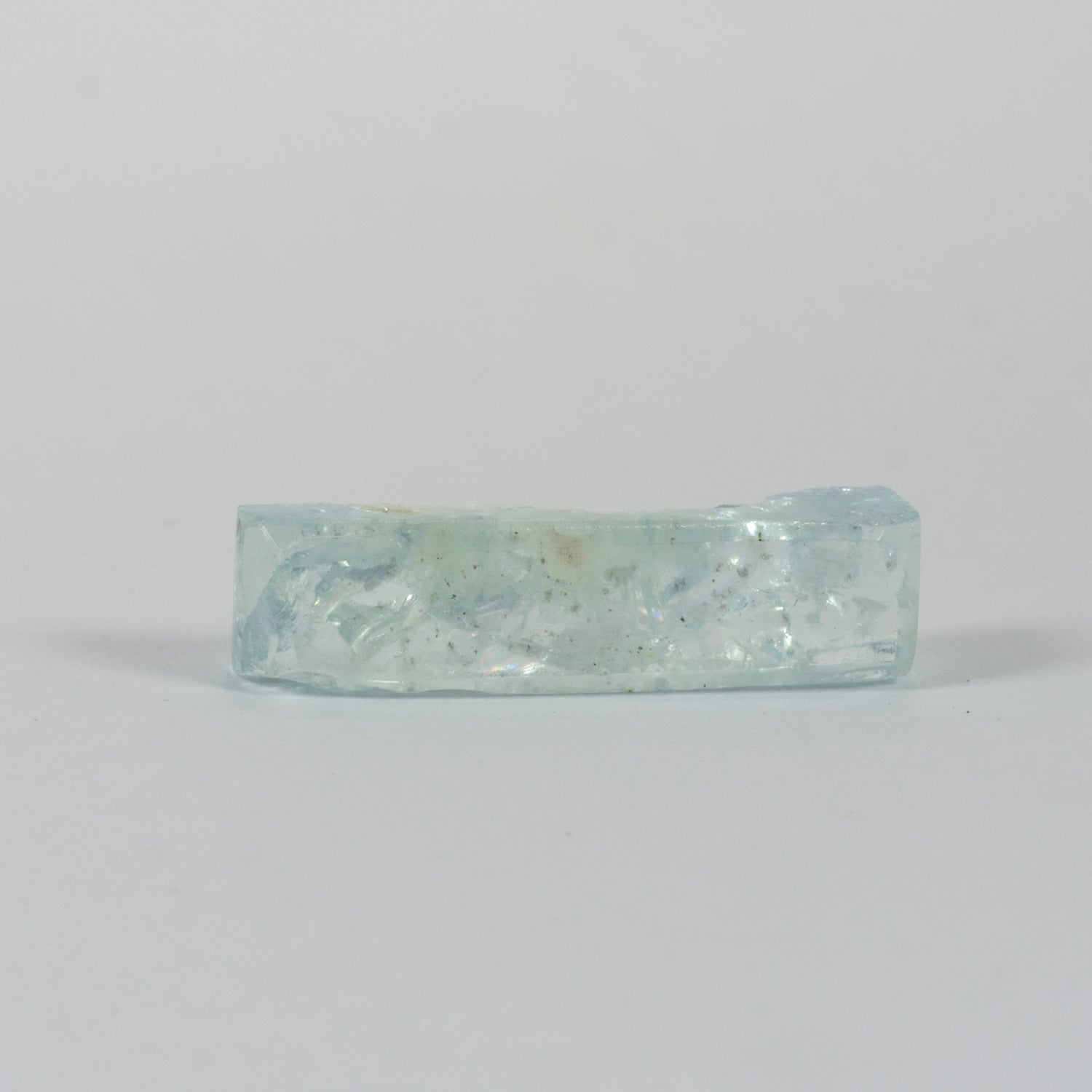 11.46ct Bespoke Rectangular Rough Cut Aquamarine, beautiful aquamarine gemstone in pale sea green, bespoke cutting, responsible sourcing in Mozambique