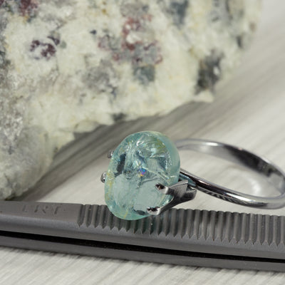 4.96ct Bespoke Oval Rough Cut Aquamarine
