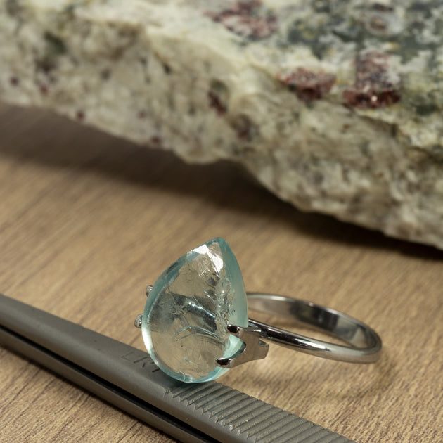 5.67ct Bespoke Pear Shape Rough Cut Aquamarine, modern aquamarine gemstone in pale sea green, sparkling pale blue beauty, bespoke cutting, responsible sourcing in Mozambique, rough aquamarine with bespoke polishing