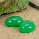 High Grade 37.93ct TW QLD Chrysoprase Oval Cabochon Pair