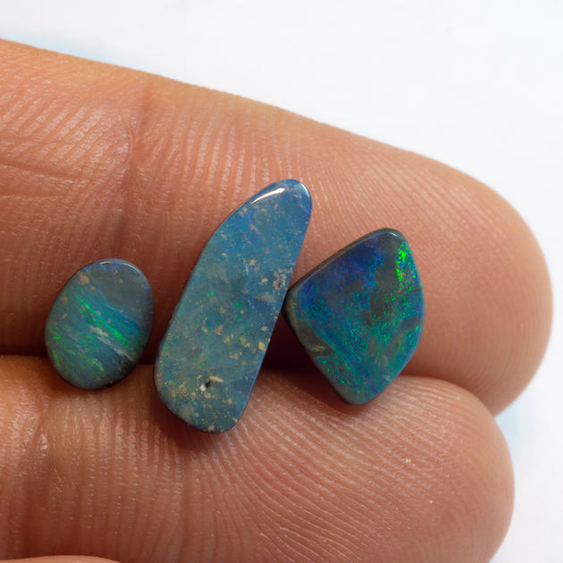 3pc 3.80ct TW Australian Boulder Opal Lot