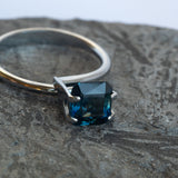 This deep blue sapphire has a lovely subtle green undertone and is completely eye clean. The piece is unheated and was responsibly sourced from Madagascar.