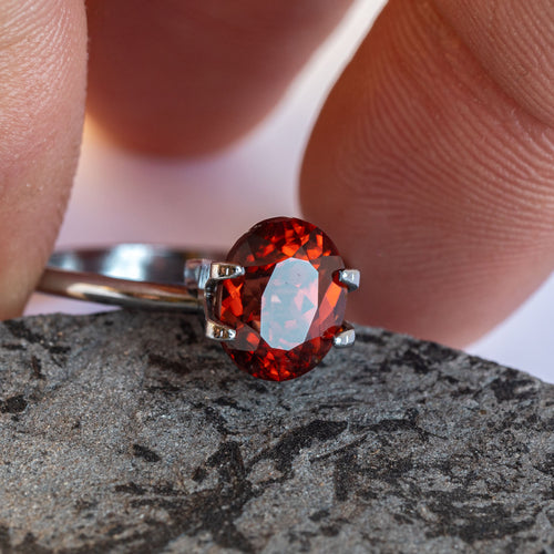 This deep dark burnt orange zircon has wonderful sparkle and an incredibly rich tone. The piece is unheated and was responsibly sourced from Madagascar.
