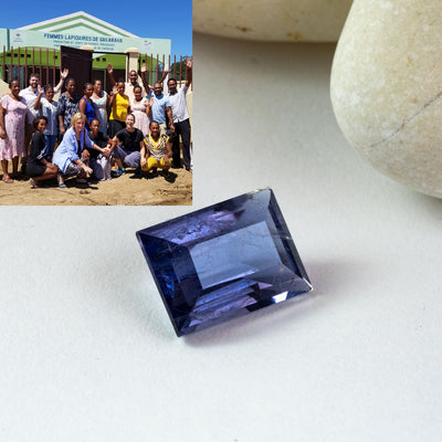 This beautiful violet iolite was faceted by one of the members of the women's lapidary collective