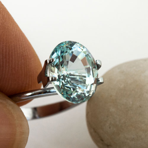 This pale blue aquamarine has wonderful life and sparkle. This piece is unheated eye clean and was responsibly sourced from Mozambique.