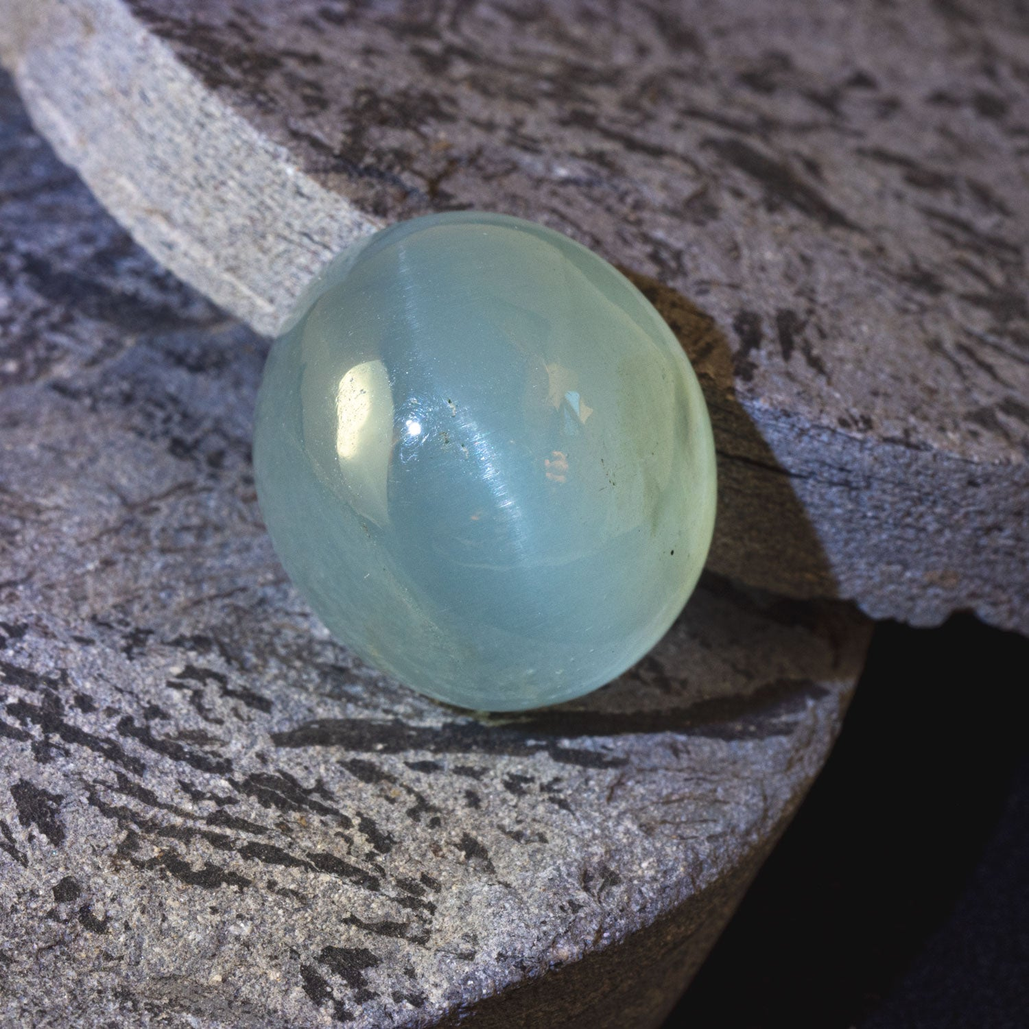 This lovely softly toned aquamarine has a striking yet subtle cat's eye effect. This piece is unheated and was responsibly sourced from Madagascar.