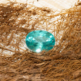1.79ct Apatite Oval Cut, teal green oval faceted Apatite gemstone