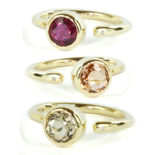 Open Round  Tourmaline and  Diamond 10k Gold Ring