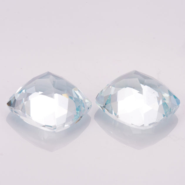 10mm Square Cushion Cut Aquamarine Pair