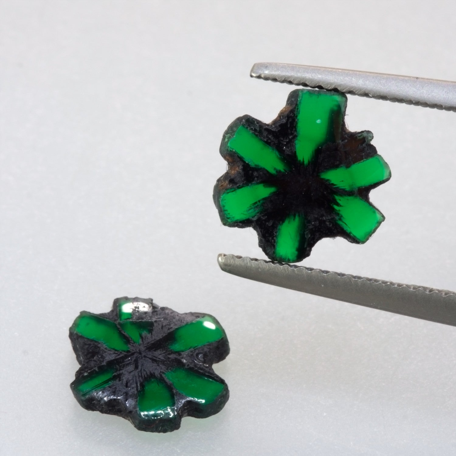 2.51ct Trapiche Emerald Single Crystal Pair