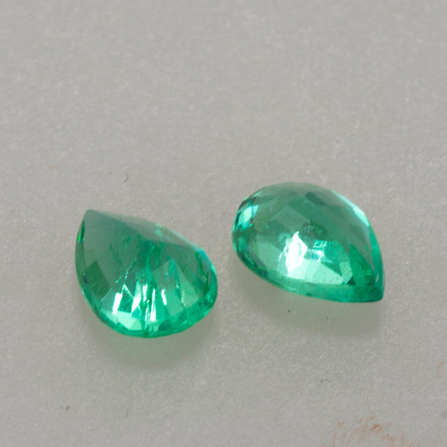 1.95ct Pear Cut Colombian Crystal Quality Emerald Pair