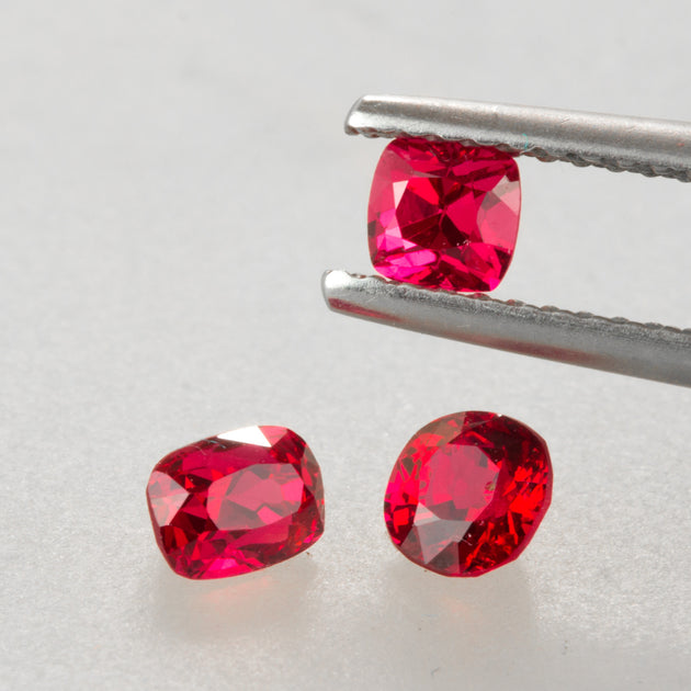 "1.14ct TW Red/ Red Pink Mixed Cut ""Jedi"" Spinel Set"