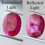 3.85ct Flat Oval Cut Ruby (with silk pattern), mozambique ruby, ruby is july birthstone