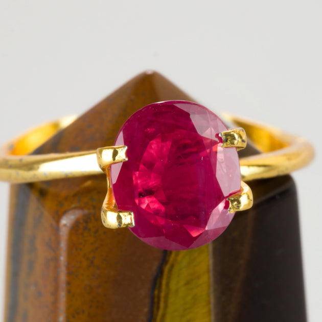 1.63ct Oval Cut Ruby, natural unheated ruby, ruby birthstone for July, Mozambique ruby