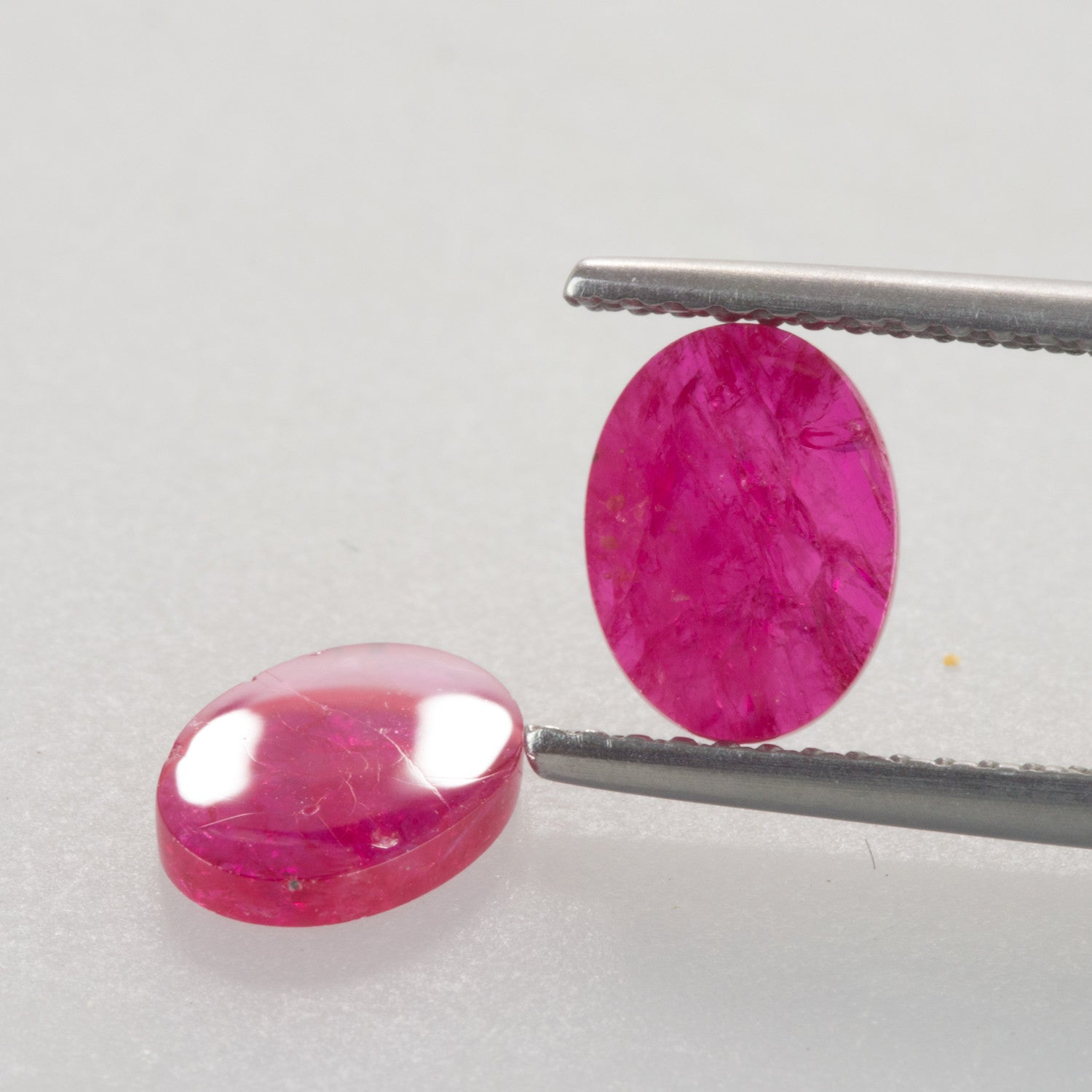 2.31ct 8x6mm Oval Shape Flat Cut Ruby Pair, mozambique ruby, july birthstone
