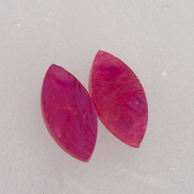 1.97ct 10x5mm Marquise Shape Flat Cut Ruby Pair