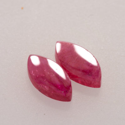 1.97ct 10x5mm Marquise Shape Flat Cut Ruby Pair, mozambique ruby, ruby is july birthstone