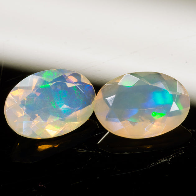 2.65ct (TW) Oval Faceted Ethiopian Opal Pair