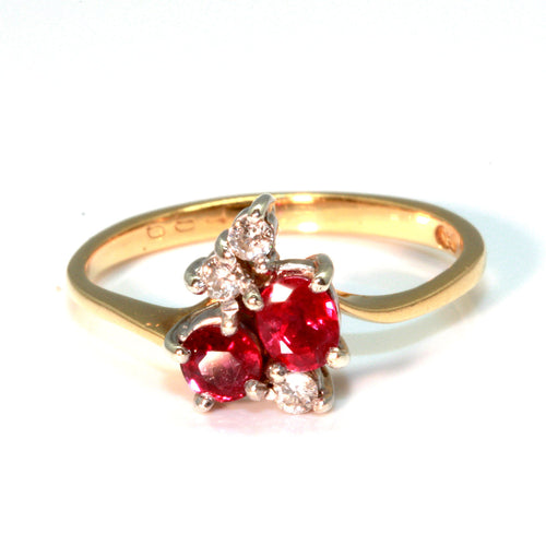Ruby and Diamond Estate Cluster Ring
