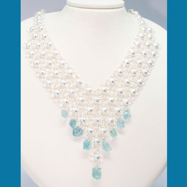 Silver Necklace in African Style Chainmail Domes with Aquamarine Shards