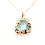 Aquamarine Shard and Diamond Pendant in 10k Gold