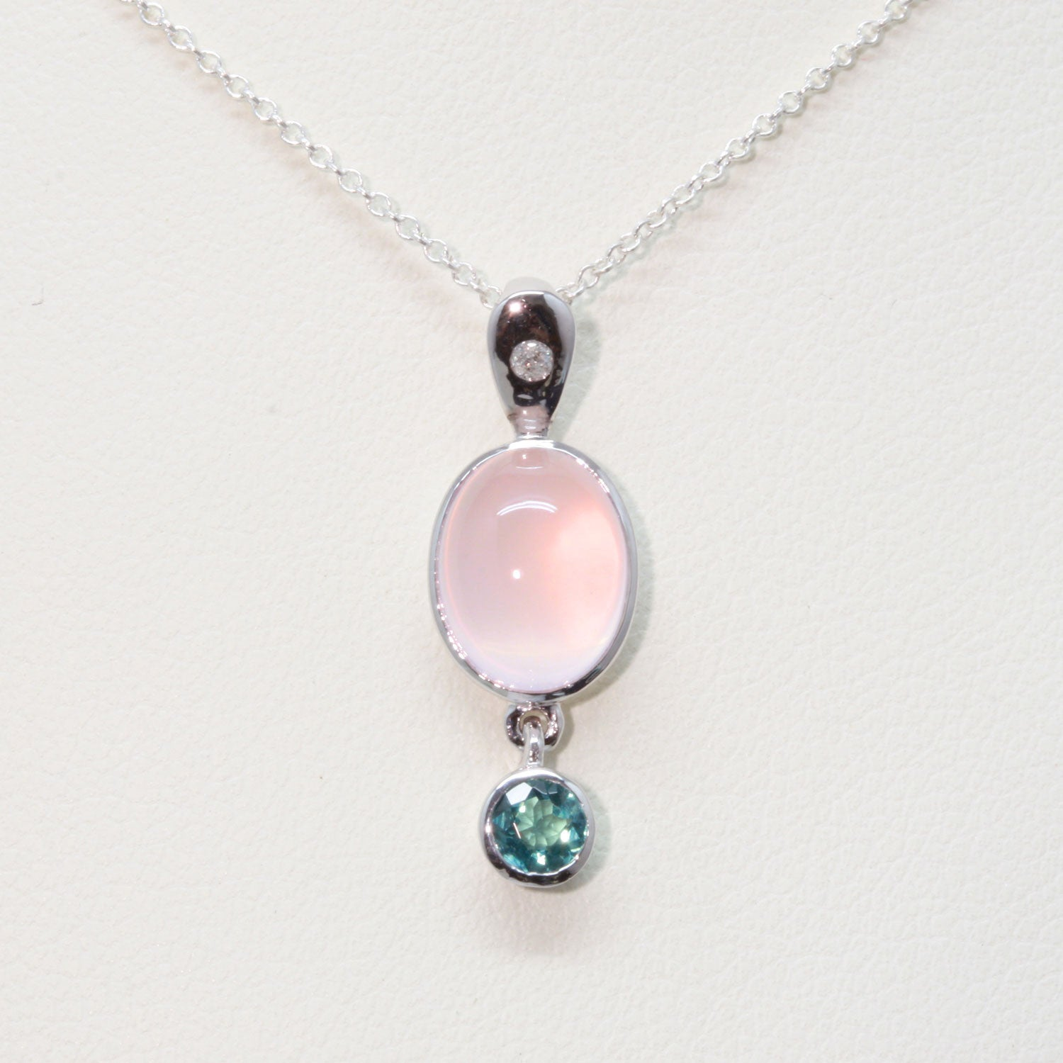 Rose Quartz, Blue Tourmaline and Diamond Pendant in 925 Silver