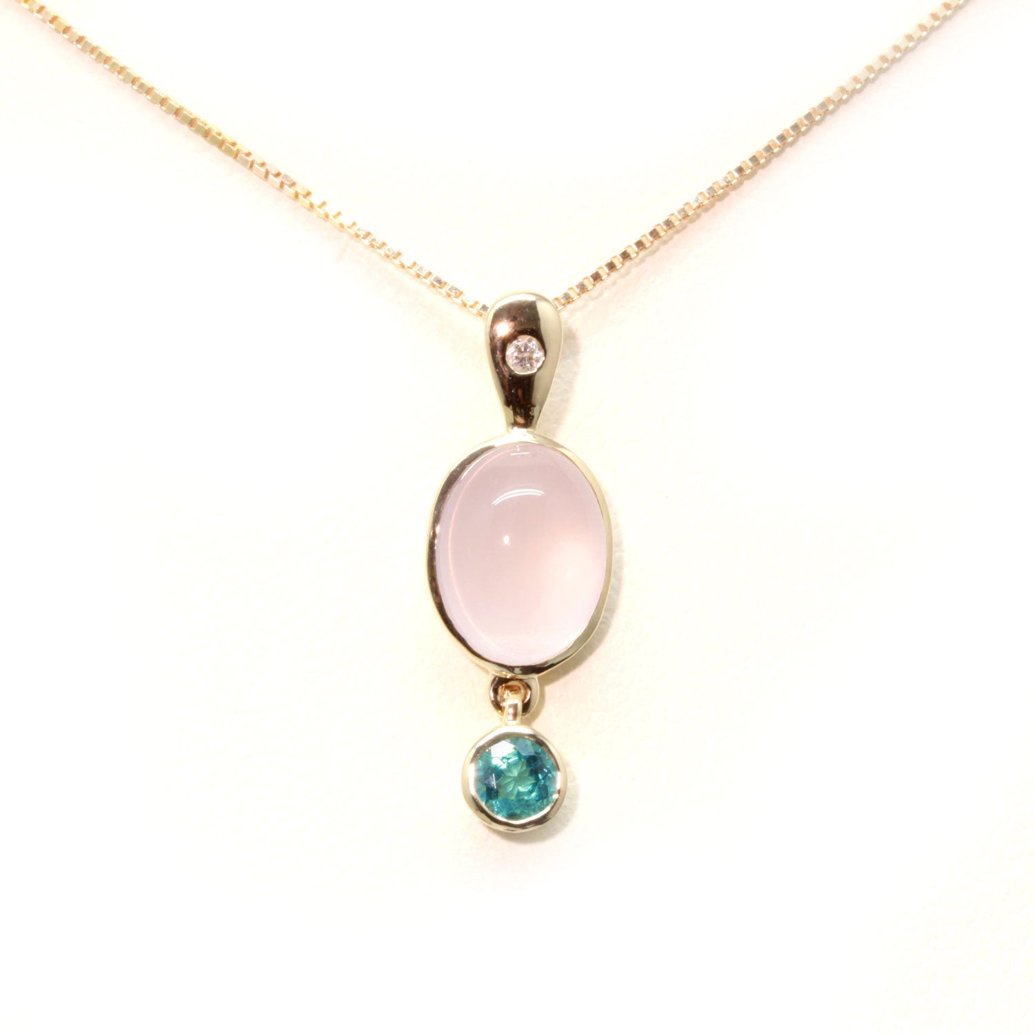 Rose Quartz, Blue Tourmaline and Diamond Pendant in 10K Gold