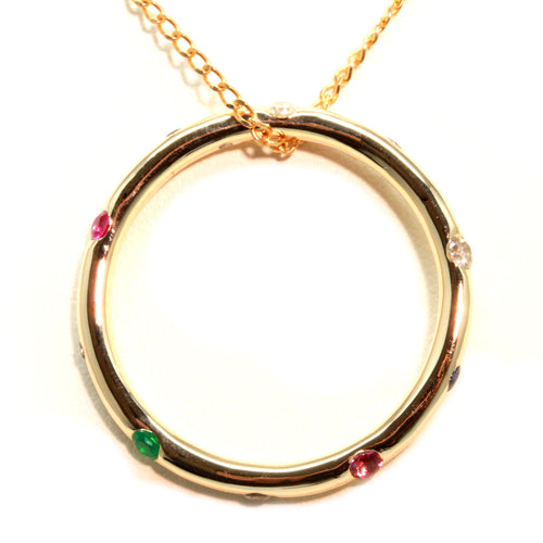 """Circle of Life"" Multi-stone Pendant in 10K Gold"