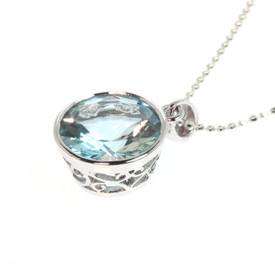 Round Aquamarine Pendant in 14k White Gold