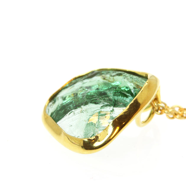 Mint Green Tourmaline Shard Gold Pendant