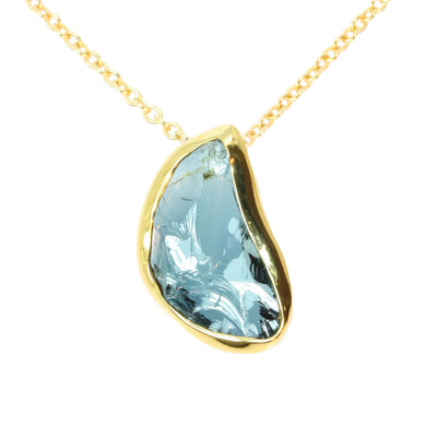 Navy Blue Tourmaline Shard Gold Pendant