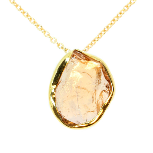 Light Orange Tourmaline Shard Gold Pendant