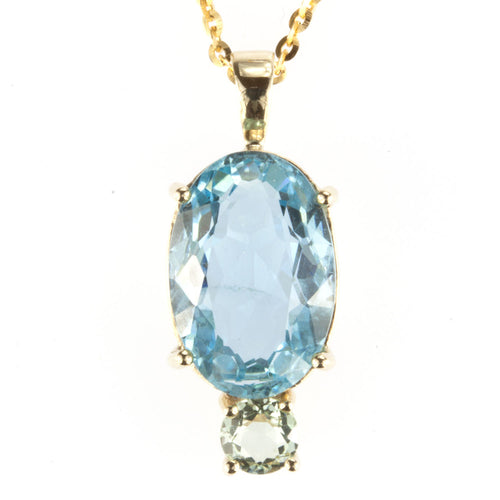 Oval Aquamarine and Round Mint Beryl 6.58ct /0.48ct 10k Gold Pendant