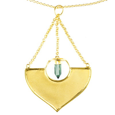 Pemba Style Gold Pendant with Tourmaline
