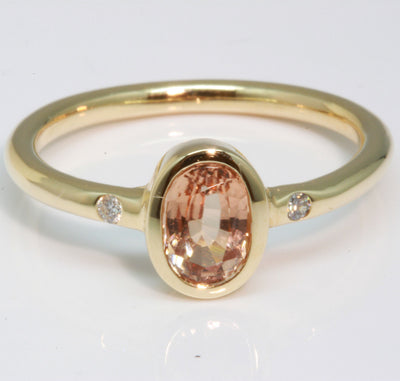 Light Orange Tourmaline and Diamond Ring