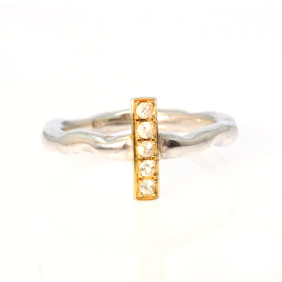 White Sapphire Silver and Gold Plate Bar Ring