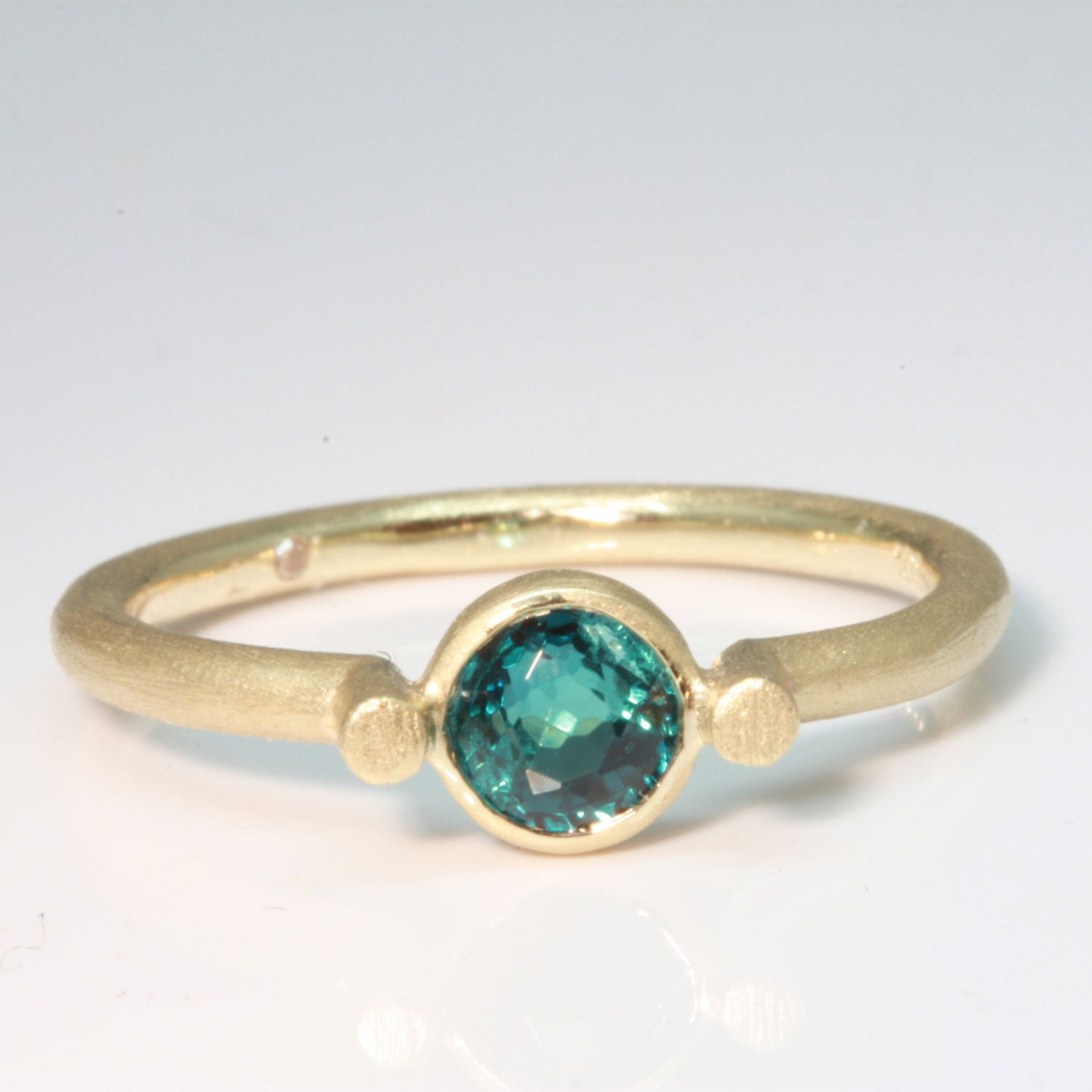 Bezel Set Blue Tourmaline 10k Gold Ring