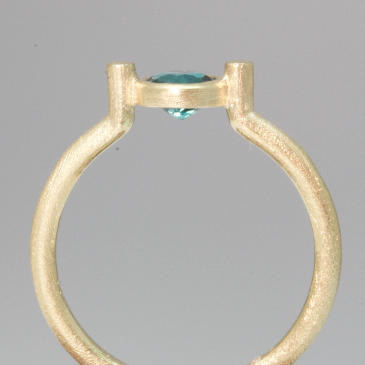 Bezel Set Blue Tourmaline Gold Ring