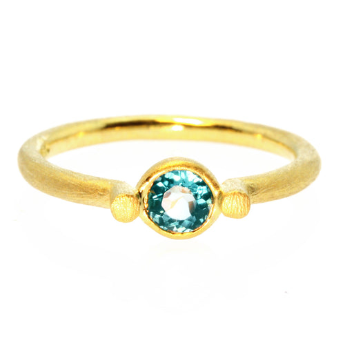 Bezel Set Blue Tourmaline Gold Plate 925 Ring
