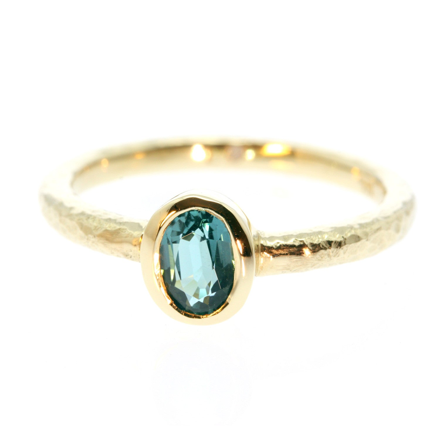 Simple Blue Tourmaline 6x4 Oval 10k Gold Ring