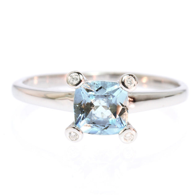 Square Cushion Cut Aquamarine and Diamond Silver Ring