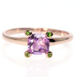 Square Cushion Cut Amethyst and Tsavorite Rose Gold Ring