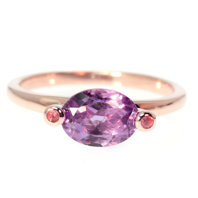 Oval Cut Amethyst and Pink Tourmaline Rose Gold Ring