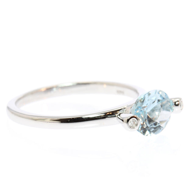 Oval Cut Aquamarine and Diamond Silver Ring