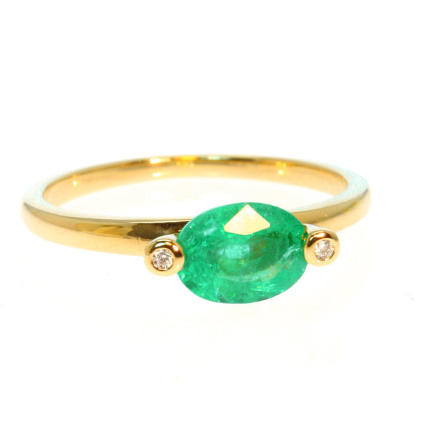 Oval Cut Emerald and Diamond 14k Gold Ring