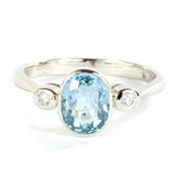 Oval Aquamarine and  Diamond 14k White  Gold Ring 2