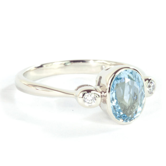 Oval Aquamarine and  Diamond 14k White  Gold Ring