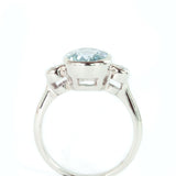 9x7 Oval Aquamarine and  Diamond 14k White  Gold Ring
