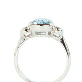 10x8 Oval Aquamarine and  Diamond 14k White  Gold Ring