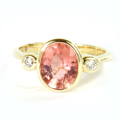 9x7 Oval Tourmaline and Diamond 10k Gold Ring